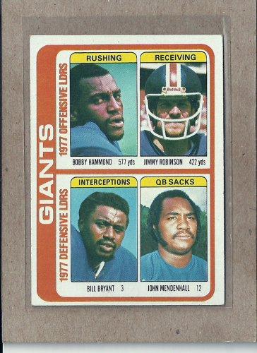 1978 Topps Football Giants Team Card #518
