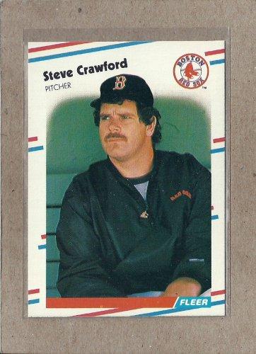 1988 Fleer Baseball Steve Crawford Red Sox #350
