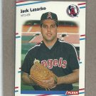 1988 Fleer Baseball Jack Lazorko Angels #494