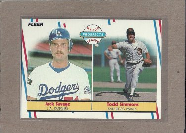 1988 Fleer Baseball Rookies Savage & Simmons #650