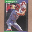 1989 Donruss Baseball Von Hayes Phillies #160
