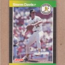 1989 Donruss Baseball Strom Davis A's #210
