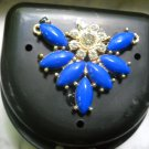 Art deco Black Denture Case Blue Gem Jewelry Woman Partial Bridge Retainer