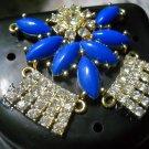 Art deco Black Denture Case Blue Clear Gem Jewelry partial storage