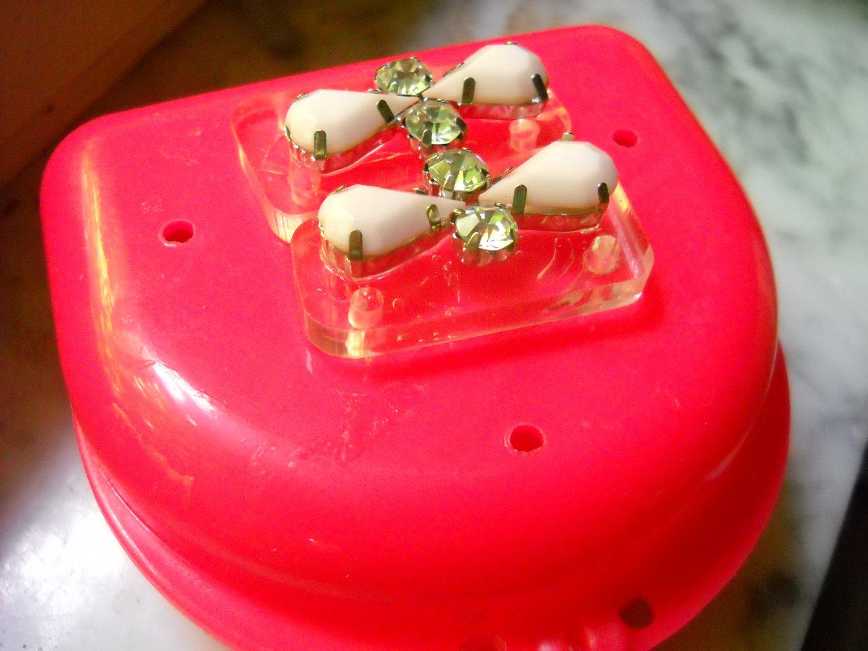 ladies woman Pink dental case retainer brace partial  case