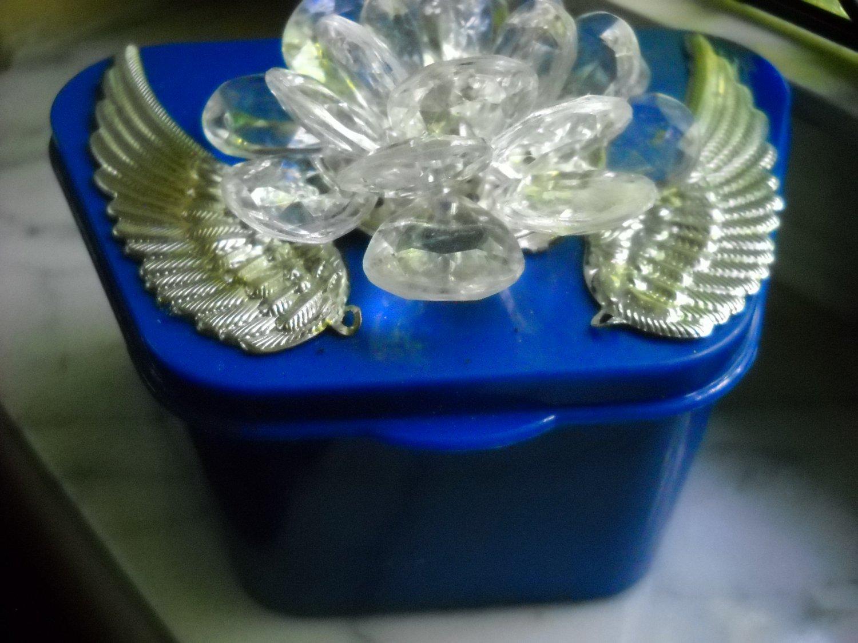 Full Denture Case Blue Silver Wings Clear Flower gem Bling Glam