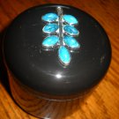 Turquoise leaf case Black Round 4 OZ Partial Dental Jewelry Personal item storage