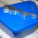 Full Denture Case trucker mens dental storage case Blue w / silver woman silhouette
