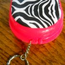 Zebra  pink retainer brace case key chain flipper denture