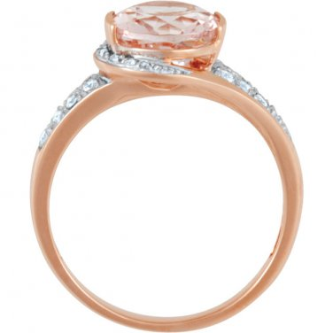 8 mm Morganite and Diamond Ring, 14 kt. rose gold