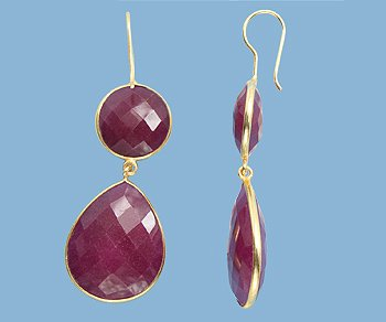 Pear shaped Ruby and Vermeil Earrings