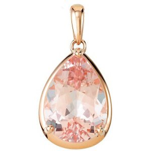 5 carat Morganite Pear Pendant 14 kt. Rose Gold