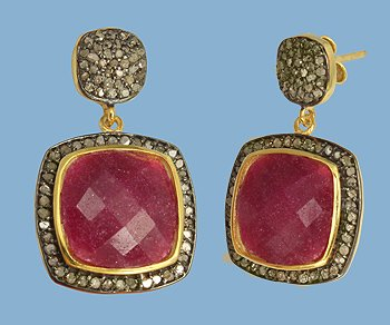 Ruby Vermeil and Pave Diamond Earrings