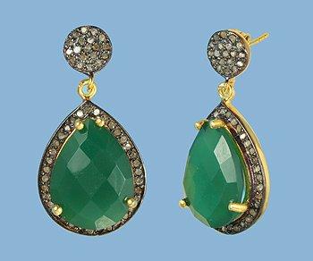 Pear shaped Emerald and Diamond Vermeil Earrings
