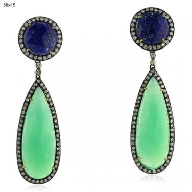 18 kt. Gold and Silver sapphire, chalcedony, and diamond earrings