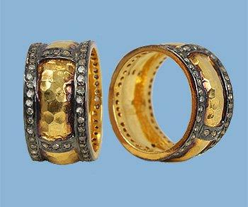 Diamond Black Rhodium and Vermeil Ring
