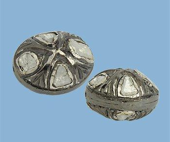 Rose cut Diamond Bead in Sterling Silver