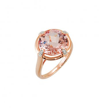 12mm Round Morganite Checkerboard Cut 14 kt. Rose Gold Ring