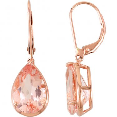 Pear Shaped Morganite Earrings 14 kt. Rose gold