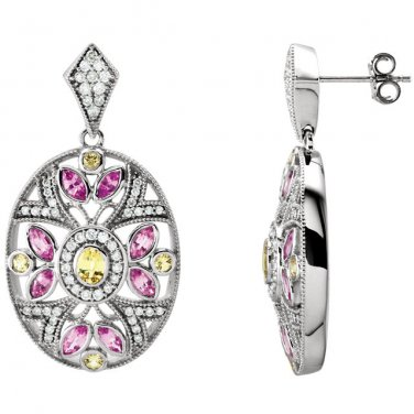 Pink and Yellow Sapphire 14 kt. White Gold Earrings