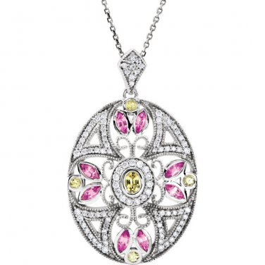 Pink and Yellow Sapphire 14 kt. White Gold Pendant