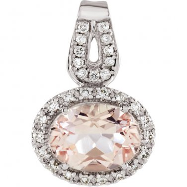 Pink Oval Morganite Diamond Pendant 14 kt. White Gold