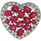 Heart Shaped Brazilian Garnet and Diamond Pendant Slide