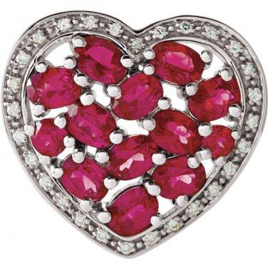 Heart Shaped Brazilian Garnet and Diamond Pendant Slide