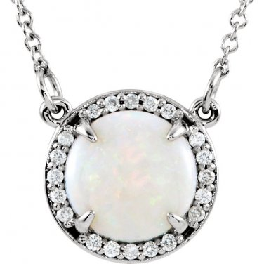 Round Opal Necklace with Diamonds in 14 kt. White Gold