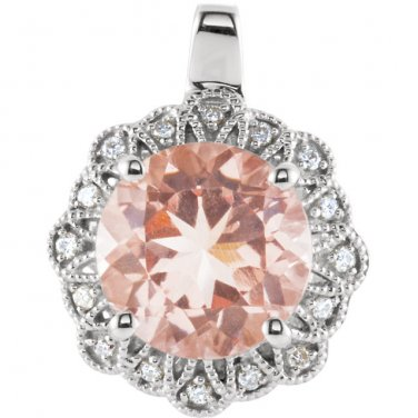 Round Pink Morganite with Diamonds  14 kt. White Gold Pendant