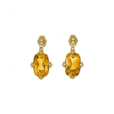 Orange Citrine and Diamond 14. kt. Gold Earrings