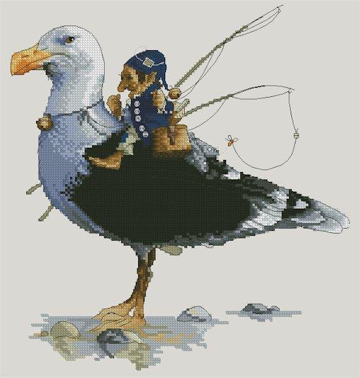 Monge Jean-Baptiste Cross Stitch Chart Fisherman on Seagull