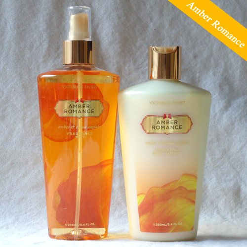 victoria 39 s secret amber romance body lotion mist set. Black Bedroom Furniture Sets. Home Design Ideas