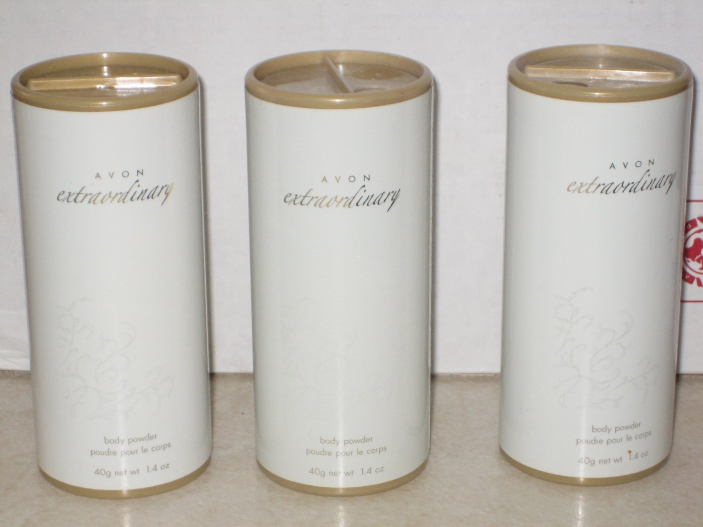 3 AVON EXTRAORDINARY Fragrance Body POWDER Talc 2006