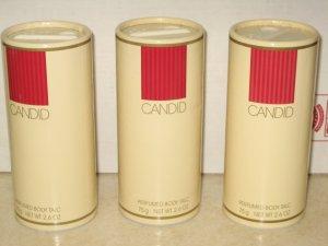 3 New AVON CANDID Fragrance Perfume Body TALC 1995