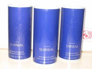 3 New AVON SURREAL Fragrance Shimmering Talc Powder 2005