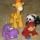 4 USED Fisher Price AMAZING ANIMALS Giraffe Panda Hippo Monkey