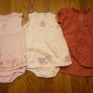 3 New Carter's Just One Year Romper Sunsuit Sundress 24M 24 M Lot Dress Flower Plaid Dot