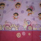 DORA THE EXPLORER TWIN FLAT Sheet Flowers Floral Boots Monkey USED