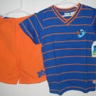 New SESAME STREET Cookie Monster Size 5T Ball Sports Stripes Short Shirt Set Top