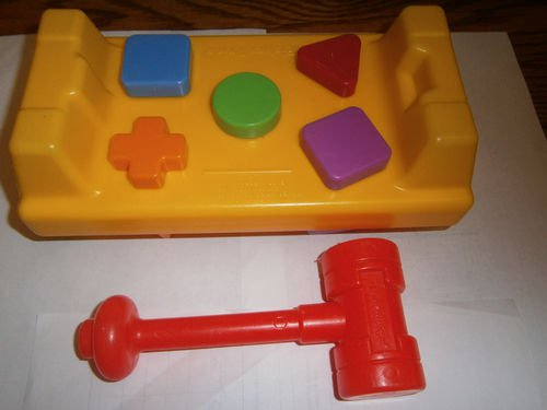 Used Fisher Price Tap N Turn Hammer Work Bench Shapes