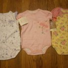 3 New CARTER's BODYSUITS CREEPERS Bodysuit 9M 9 M Cherry Heart Plaid Flower Pink Lot
