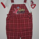 SESAME STREET Shirt Shortalls SET 4T Tops Elmo Baseball Plaid Red Sports Set
