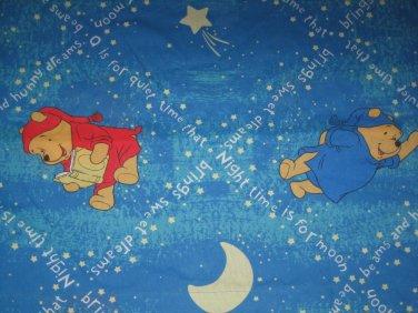 Used Disney WINNIE THE POOH TWIN FLAT SHEET Sheets Moon Sweet Dreams Nighttime