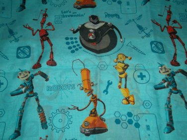 USED Disney ROBOTS TWIN FLAT SHEET Blue USED Mint