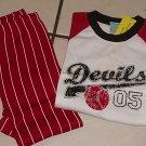 New GYMBOREE PAJAMAS PJs Sz 5 First Base Lil Devil Ball Baseball Red White