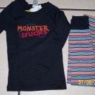 New GYMBOREE PAJAMAS PJs Gymmies Sz 5 Monster Truck Blue Stripes