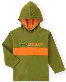 New GYMBOREE Tractor SHIRT with Hood Tops Sz 7 Truck Green Long Sleeves Boy