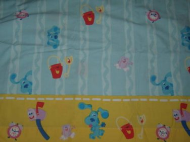 USED BLUE's CLUES TWIN FLAT Sheet Dog Tickety Clock Shovel Pail Blue Slippery