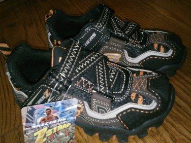 New SKECHERS SHOES Sneakers Boys Velcro Orange Damager Boys 10.5 M 10.5M 10 1/2